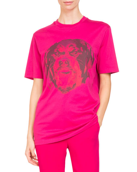 Givenchy Rottweiler-Print Crewneck Short-Sleeve Cotton Tee