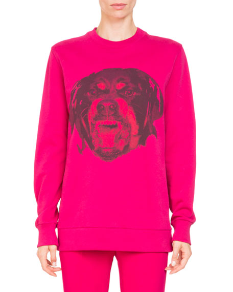Rottweiler-Print Crewneck Long-Sleeve Cotton Sweatshirt