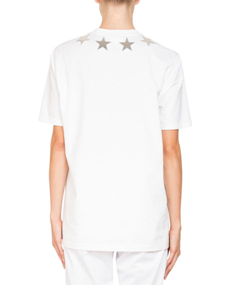 Crewneck Short-Sleeve Jersey T-Shirt w/ Star Appliques