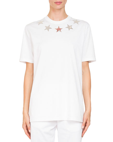 Givenchy Crewneck Short-Sleeve Jersey T-Shirt w/ Star Appliques