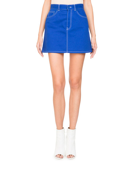 A-Line Stretch-Denim Skirt w/ Logo Detail