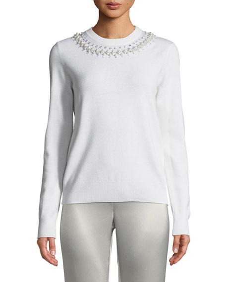 Pearly Beaded Crewneck Sweater