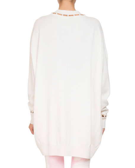 Oversized V-Neck Wool-Cashmere Sweater w/ Pearlescent Trim