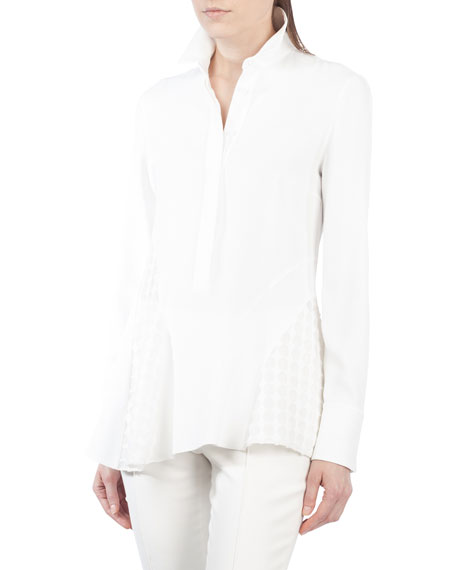 Akris punto Stand-Collar Long-Sleeve Crepe Blouse