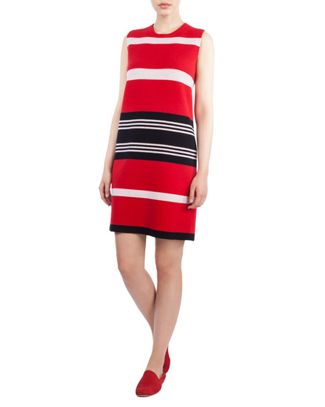 Round-Neck Sleeveless Reversible Striped Cashmere Knit Dress
