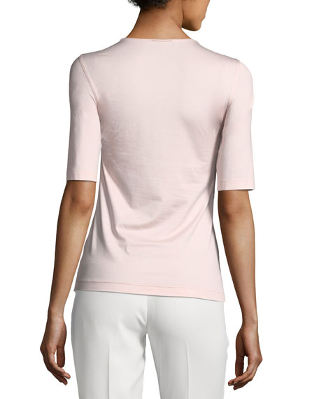 Round-Neck Elbow-Sleeve Fitted Stretch-Jersey Top