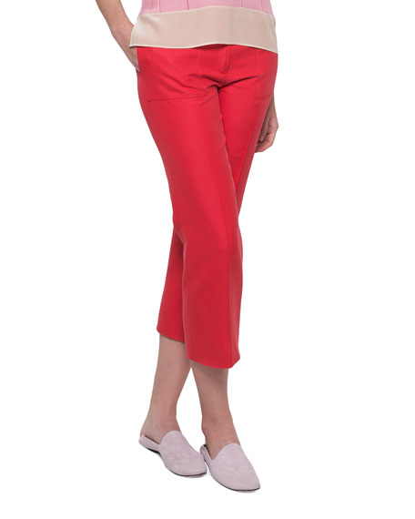 Akris Colette Straight-Leg Cotton-Silk Ankle Pants