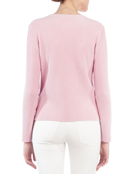 Crewneck Ribbed Long-Sleeve Wool-Blend Pullover Top