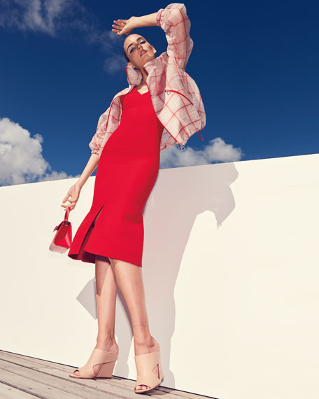 V-Neck Sleeveless Wool-Silk Midi Dress