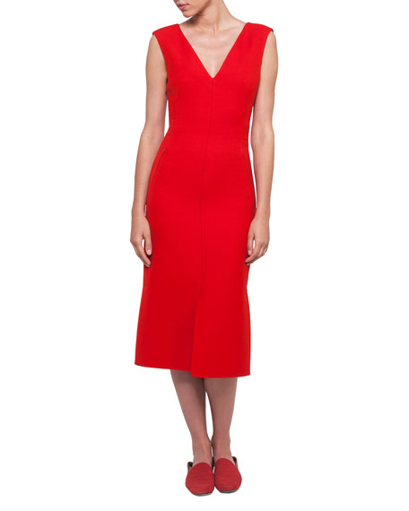 Akris V-Neck Sleeveless Wool-Silk Midi Dress and Matching