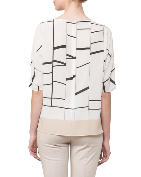 Boat-Neck Broken-Stripes Silk Tunic Blouse