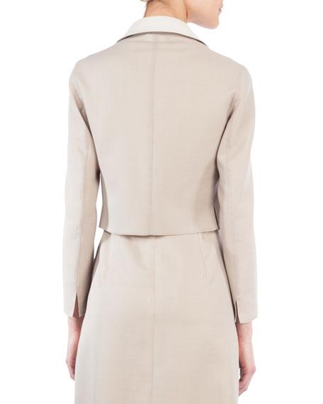 Open-Front Long-Sleeve Cropped Wool-Silk Jacket