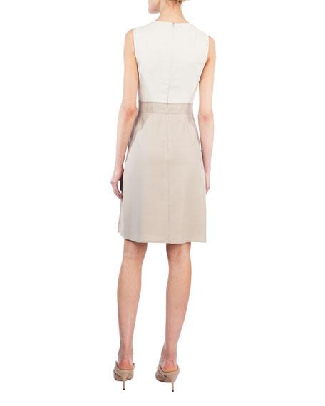 Round-Neck Sleeveless Wool-Silk A-Line Dress