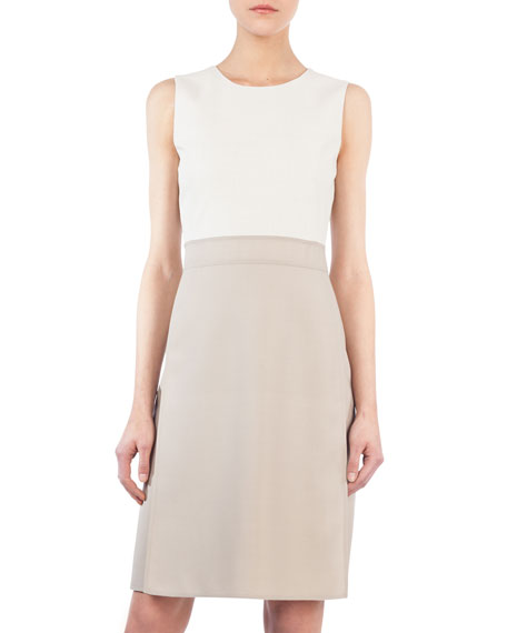 Round-Neck Sleeveless Wool-Silk A-Line Dress