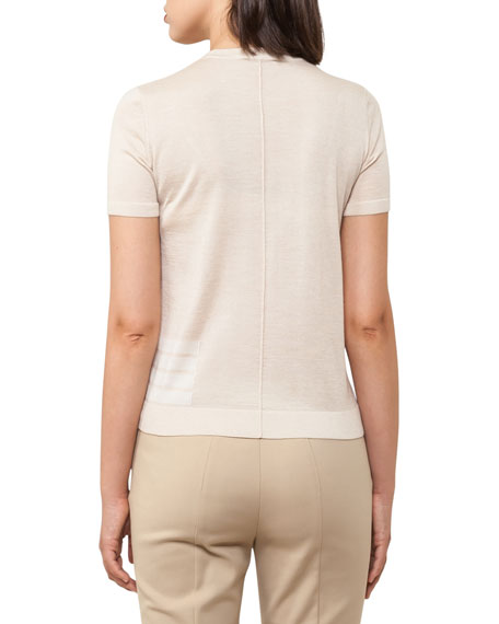 Knit Stripe-Trim Short-Sleeve Sweater