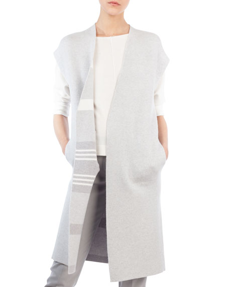 Open-Front Striped Reversible Knee-Length Cashmere Gilet