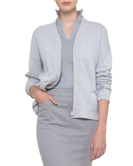 Long Sleeve Zip Front Cashmere Cardigan by Akris