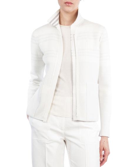 Mock-Neck Zip-Front Reversible Cashmere Knit Jacket