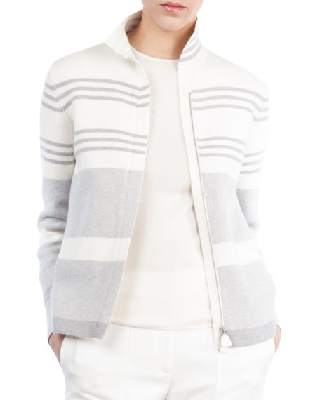 Akris Mock-Neck Zip-Front Reversible Cashmere Knit Jacket