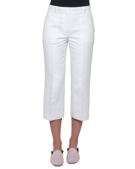 Akris Straight-Leg Cropped Cotton-Silk Pants