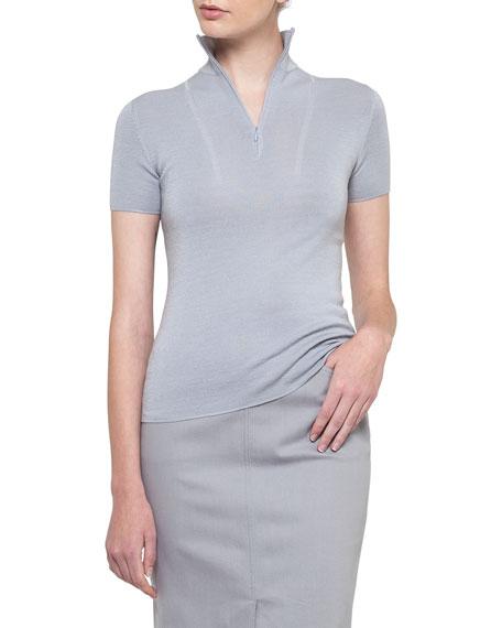 Zip-Neck Cashmere-Silk Pullover
