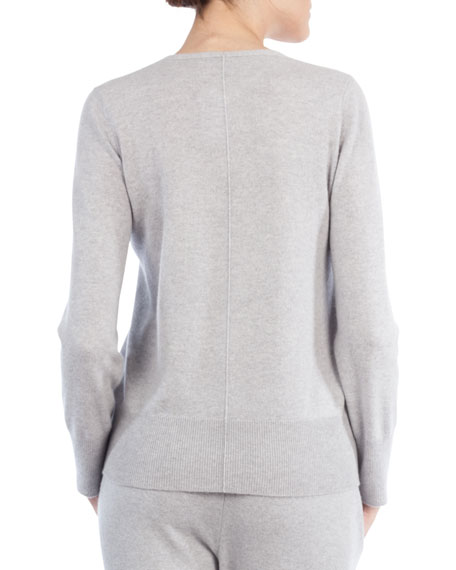 V-Neck Long-Sleeve Cashmere Pullover Sweater