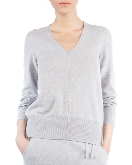 Akris V-Neck Long-Sleeve Cashmere Pullover Sweater and Matching