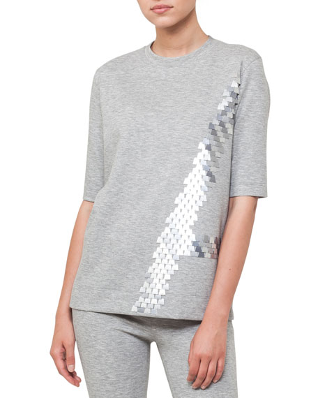 Crewneck Elbow-Sleeve Sequin Embroidered Jersey Tunic