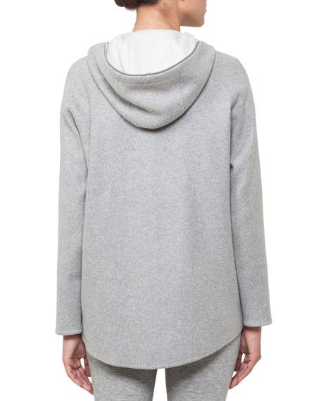 Nat Hooded Zip-Front Reversible Fleece Cardigan Jacket