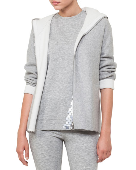 Akris Nat Hooded Zip-Front Reversible Fleece Cardigan Jacket