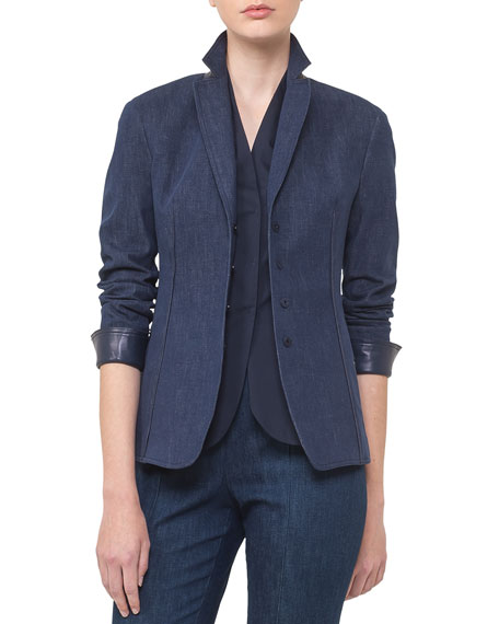 Akris Odeon Snap-Front Long-Sleeve Denim Jacket and Matching
