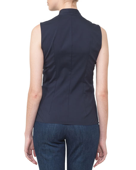 V-Neck Snap-Front Sleeveless Poplin Blouse
