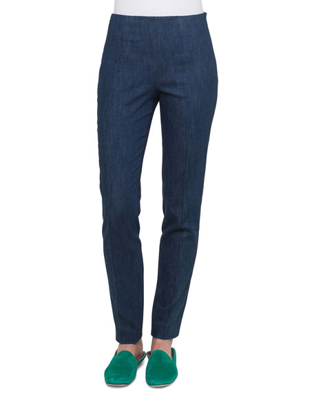 Akris Melissa Side-Zip Slim-Leg Stretch-Denim Pants and Matching