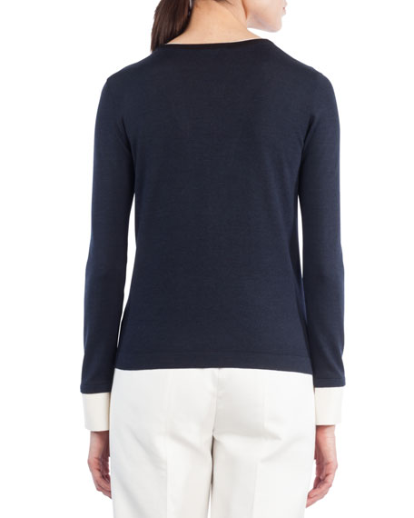 V-Inset Long-Sleeve Wool-Silk Top