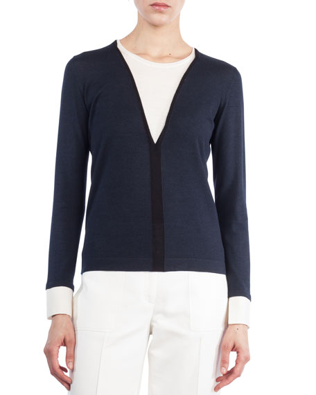 Akris V-Inset Long-Sleeve Wool-Silk Top and Matching Items