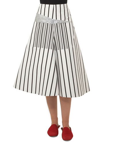 Structured A-line Striped Cotton Canvas Midi Skirt w/ Metallic