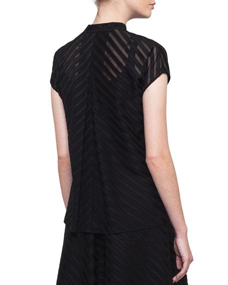 Zip-Front Cap-Sleeve Diagonal Jacquard Cotton Voile Blouse