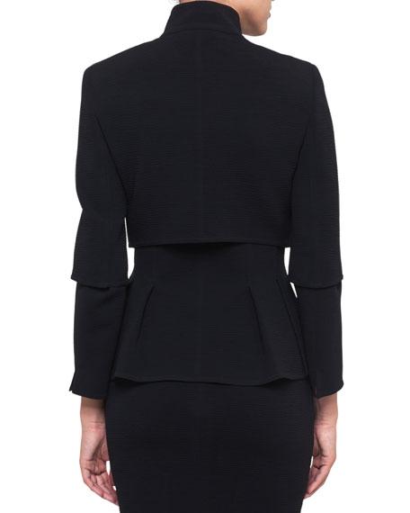 Mock-Neck Wool-Stretch Short Jacket