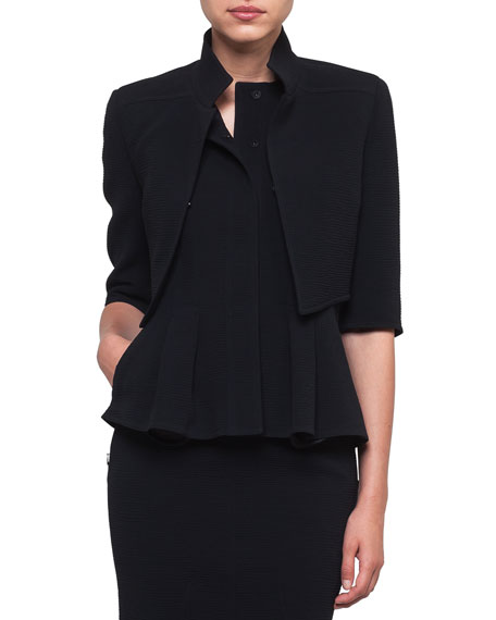 Mock-Neck Wool-Stretch Short Jacket in Black