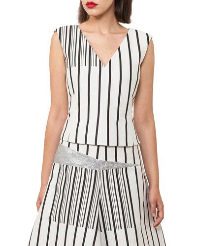V-Neck Sleeveless Irregular-Stripe Cotton Canvas Top