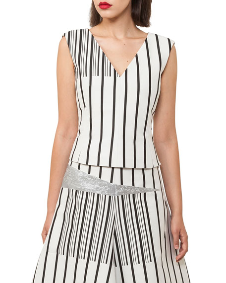 Akris Structured A-line Striped Cotton Canvas Midi Skirt