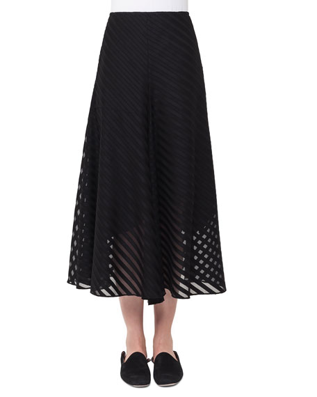 Akris Diagonal Jacquard A-Line Midi Cotton Voile Skirt