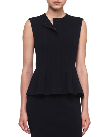 Round-Neck Snap-Front Wool-Stretch Peplum Gilet