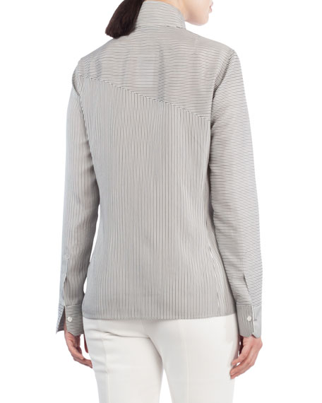 Button-Front Narrow-Stripe Silk Blouse