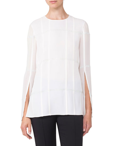 Akris Round-Neck Pleated Embellished Chiffon Tunic Blouse and