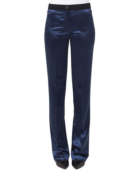 Wide-Leg Elastic-Waist Wool Satin Pants