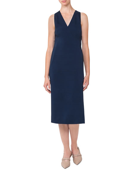 Akris Sleeveless V-Neck Silk Shantung Dress