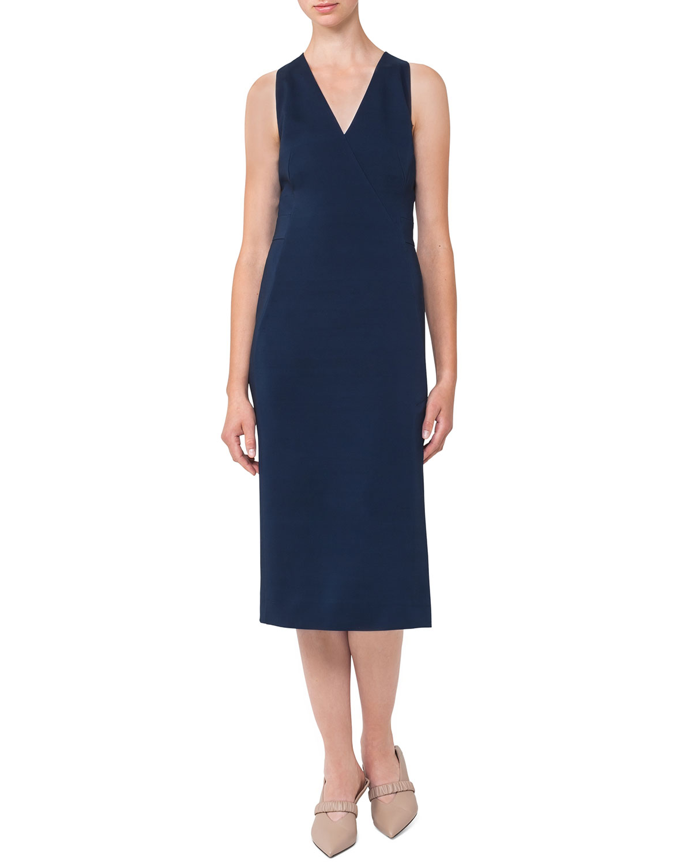 Sleeveless V Neck Silk Shantung Dress