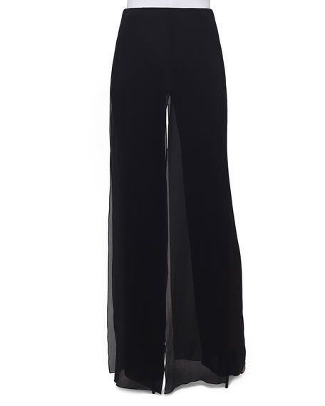 Double-Layer Georgette Wide-Leg Pants