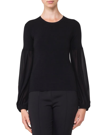 Round-Neck Chiffon-Sleeve Knit Cashmere-Blend Blouse